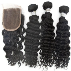 3 BUNDLES VIRGIN WEFTS WITH FREE CLOSURE- DEEP WAVE