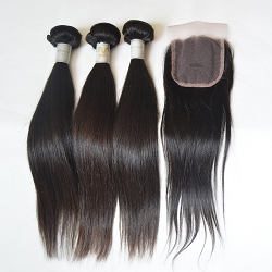 3 BUNDLES VIRGIN WEFTS WITH FREE CLOSURE- NATURAL STARIGHT