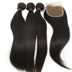 3 BUNDLES VIRGIN WEFTS WITH FREE CLOSURE- LIGHT YAKI