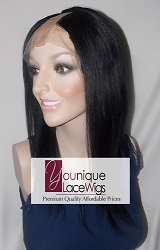 "12"" LIGHT YAKI UPART WIG COLOR #1 SMALL CAP TRANSPARENT LACE 100% DENSITY  (MIDDLE PART)"