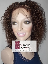 "10"" CURLY FULL LACE WIG COLOR 4 MEDIUM CAP TRANSPARENT SWISS LACE 100% DENSITY"