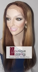 "18"" LIGHT YAKI Two Tone Lace Front Wig Color 4 Root then 27A MEDIUM CAP TRANSPARENT SWISS LACE 180% DENSITY"