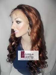 "22"" VIRGIN INDIAN TWO TONE FULL LACE WIG COLOR 1B/33 MEDIUM CAP TRANSPARENT SWISS LACE 180% COMBS & STRAPS"