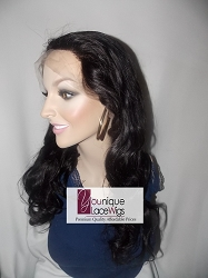 "18"" FULL LACE WIG BODYCURL COLOR 1B MEDIUM CAP ADJUSTABLE STRAP 125% DENSITY TRANSPARENT SWISS LACE"