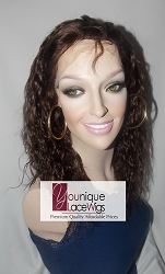 "14"" NATURAL WAVE FULL LACE WIG COLOR #4 SMALL CAP TRANSPARENT SWISS LACE 100% DENSITY"