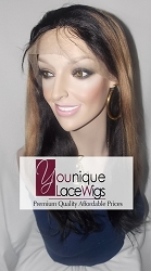 "16"" TWO TONE LACE FRONT WIG 1B/27 MEDIUM CAP TRANSPARENT SWISS LACE - LIGHT YAKI TEXTURE. GLUELESS CAP"