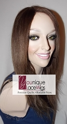 "14"" light yaki glueless lace front wig color 4/27 medium cap transparent lace- extra parting space"