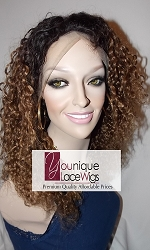 "16"" KINKY CURL LACE FRONT WIG TWO TONE COLOR 1/4 MEDIUM CAP TRANSPARENT SWISS LACE"