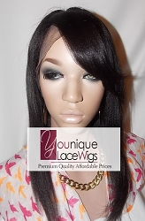 "14"" KINKY STRAIGHT FULL LACE WIG WITH BANG COLOR 1B MEDIUM CAP TRANSPARENT SWISS LACE 125% DENSITY - SILK TOP & THIN SKIN"
