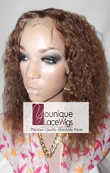 "10"" WAVY FULL LACE WIG COLOR 4/6 SMALL CAP TRANSPARENT SWISS LACE 125% DENSITY- THIN SKIN 150% DENSITY"