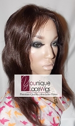 "12"" VIRGIN INDIAN FULL LACE WIG NATURAL COLOR MEDIUM CAP TRANSPARENT SWISS LACE 125% DENSITY - THIN SKIN"