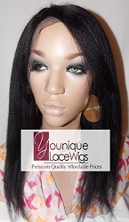 "12"" KINKY STRAIGHT FULL LACE WIG WITH BANG COLOR 1B MEDIUM CAP MEDIUM BROWN SWISS LACE 150% DENSITY"