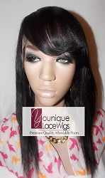 "14"" light yaki full lace wig with bang color 1b medium cap transparent swiss lace 125% density"
