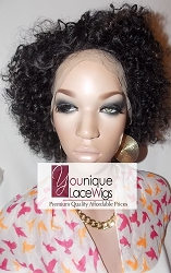 """10"""" AFRO CURLY FULL LACE WIG COLOR 1B/30 MEDIUM CAP TRANSPARENT SWISS LACE 125% DENSITY"""