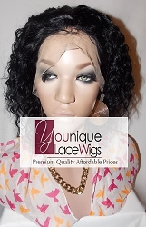 "10"" DEEPWAVE FULL LACE WIG COLOR 1 SMALL CAP TRANSPARENT SWISS LACE 125% DENSITY"