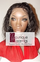 "10"" DEEPWAVE FULL LACE WIG COLOR 1B WITH GREY MEDIUM CAP TRANSPARENT SWISS LACE 125% DENSITY"