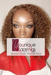 """12"""" KINKY CURL GLUELESS FULL LACE WIG COLOR 4 SMALL CAP 125% DENSITY- SMALL HOLE IN CAP"""