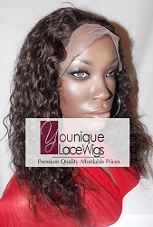 "14"" WAVY FULL LACE WIG COLOR 2 MEDIUM CAP MEDIUM BROWN SWISS LACE 125% DENSITY"