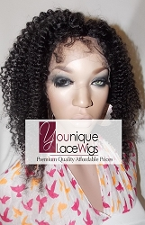 "12"" CURLY FULL LACE WIG COLOR 1B SMALL GLUELESS CAP MED BROWN SWISS LACE 125% DENSITY"
