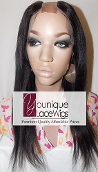 "14"" LIGHT YAKI UPART FULL LACE WIG COLOR 1B SMALL CAP TRANSPARENT SWISS LACE 125% DENSITY"