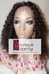 "12"" CURLY FULL LACE WIG COLOR 2 SMALL CAP MEDIUM BROWN SWISS LACE 125% DENSITY"