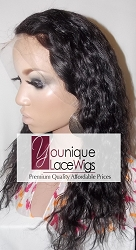 "14"" WAVY FULL LACE WIG COLOR 1B MEDIUM CAP TRANSPARENT SWISS LACE 125% DENSITY"