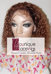 "10"" WAVY FULL LACE WIG TWO TONE COLOR 2 AT ROOT THEN COLOR 30 SMALL CAP LIGHT BROWN LACE 125% DENSITY"