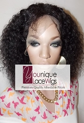 "10"" AFRO CURLY FULL LACE WIG COLOR 1B SMALL CAP TRANSPARENT SWISS LACE 125% DENSITY- SILK TOP"