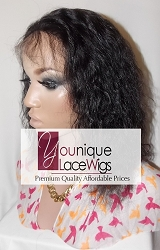 "10"" WAVY FULL LACE WIG COLOR 1B SMALL CAP TRANSPARENT SWISS LACE 100% DENSITY - THIN SKIN PERIMETER"