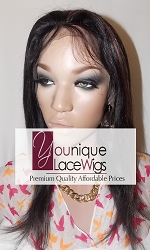 "12"" SILKY FULL LACE WIG COLOR 1B/30 SMALL CAP TRANSPARENT SWISS LACE 125% DENSITY- ADJUSTABLE STRAP"
