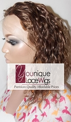 "10"" WAVY FULL LACE WIG COLOR 4/30 SMALL CAP TRANSPARENT SWISS LACE 125% DENSITY -THIN SKIN PERIMETER"