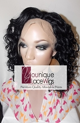 "14"" OPRAH FULL LACE WIG COLOR 1 MEDIUM CAP TRANSPARENT SWISS LACE 150% DENSITY ADJUSTABLE STRAPS"