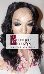 "14"" BODYCURL FULL LACE WIG COLOR 1B/30 SMALL CAP MEDIUM BROWN SWISS LACE 125% DENSITY"