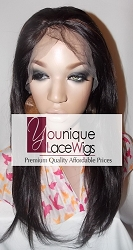 "14"" SILKY STRAIGHT FULL LACE WIG COLOR 1B/30 SMALL GLUELESS CAP TRANSPARENT SWISS LACE THIN SKIN PERIMETER 125% DENSITY"