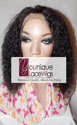 "10"" CURLY FULL LACE WIG COLOR 1B MEDIUM CAP TRANSPARENT SWISS LACE 125% DENSITY"