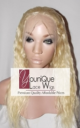"18"" NATURAL WAVE FULL LACE WIG COLOR 613 MEDIUM CAP TRANSPARENT SWISS LACE 125% DENSITY"