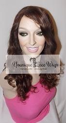 "16"" Body Curl Full Lace Wig Color #2 Large Cap Medium Brown Swiss Lace 125% Density ~ Silk Top"
