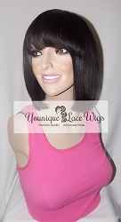 "10"" Virgin Brazilian Bob Cut Full Lace Wig Natural Color Medium Cap  transparent Swiss Lace 125% Density Glueless Cap"