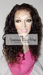 "16"" Natural Wave Full Lace Wig Color #2 Medium Cap Medium Brown Swiss Lace 175% Density"