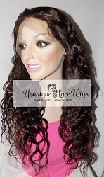 "20"" Natural Curly Full Lace Wig Color 2/30 Medium Cap Medium Brown Swiss Lace Silk Top 150% Density"