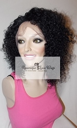 "10"" Kinky Curl Full Lace Wig Color #1 Medium Cap Medium brown Swiss Lace 150% Density"