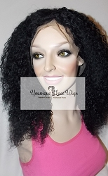 "16"" Kinky Curl Full Lace Wig Color #1 Small Cap Transparent Swiss Lace 175% Density"
