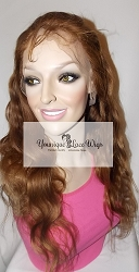 "20"" Body Wave Full Lace Wig Color #6 Medium Cap Transparent Swiss Lace 175% Density"