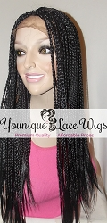 Synthetic Box Braid Lace Front Wig Medium Cap Swiss Lace