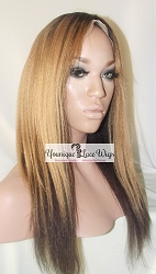 "18"" Kinky Straight Two Tone Wig Color 2/27 Medium cap Transparent Swiss Lace"