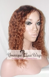"12"" Water Wave Full Lace Wig Two Tone Color 1b/30 Small Cap Transparent Swiss Lace Glueless Cap 125%"