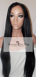 "24"" Gently Used Light Yaki Full Lace Wig (Like New) Color 1 Small cap transparent Swiss Lace 150% Density ~ Very Nice Wig"