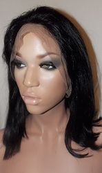"12"" Silky Straight Full Lace Wig ends Clipped Color #1 Medium cap Medium Brown Swiss Lace 125% Density - Hair is Nice & Soft"