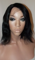 "10"" Natural Straight Full Lace Wig Color #1 Small Cap Transparent Swiss Lace 125% Density"