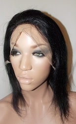 "10"" Silky Full Lace Wig Color #1 Small cap Transparent Swiss Lace Glueless Cap 100% Density"